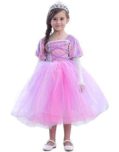 (Das beste Sofia Rapunzel Kostüm Kinder Glanz Kleid Mädchen Weihnachten Verkleidung Karneval Party Tangled Halloween Fest Lila (130, Rosa + lila))
