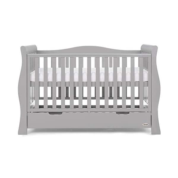Obaby Stamford Luxe Sleigh Cot Bed, Warm Grey Obaby Adjustable 3 position mattress height Sides remove to transform into toddler bed Includes matching under drawer for storage 10