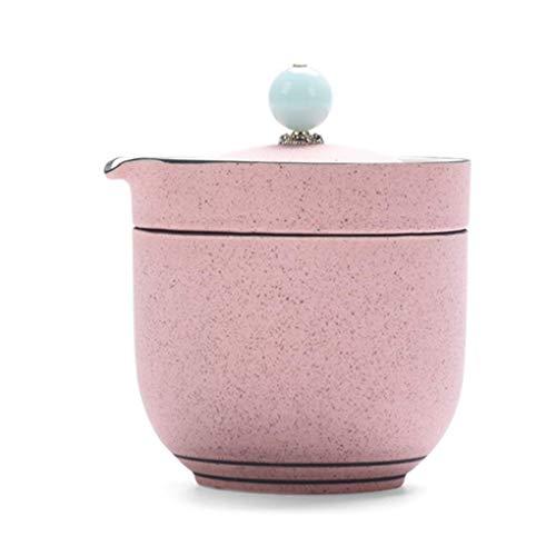 Chinesische Kungfu Teeservice für unterwegs, Teekanne, Teetassen, Bambus-Teetablett mit Reisetasche, Bambus-Muster, Violett One pot one cup Pink -