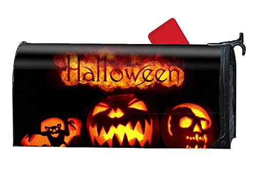 prz0vprz0v Magnetic Large Size Mailbox Cover Scary Happy Halloween Mail Box Covers, 21 x 18 Inches Waterproof Canvas Mailbox Cover (Scary Halloween Boxen)