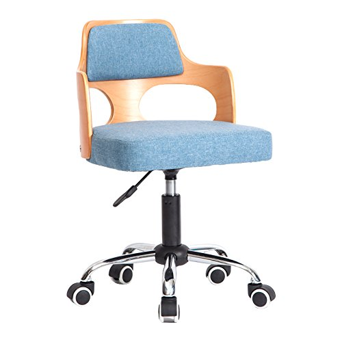 ALUK - High stools/Folding chairs Moderner Student Small Chair Rücken und Arme Edelstahl Home Wood Hocker Barhocker/Tischhocker (Farbe : Light Blue-c-2, größe : 49cm) (Chair Arm Folding)