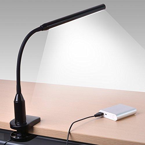 Sunix® Scorpio LED Libro de Lectura, USB Cable de Carga Incluido, 5V 1A, Protección de los ojos, sensible al tacto de control, Ahorro Energía, Lámpara de Escritorio con Pinza (Negro)