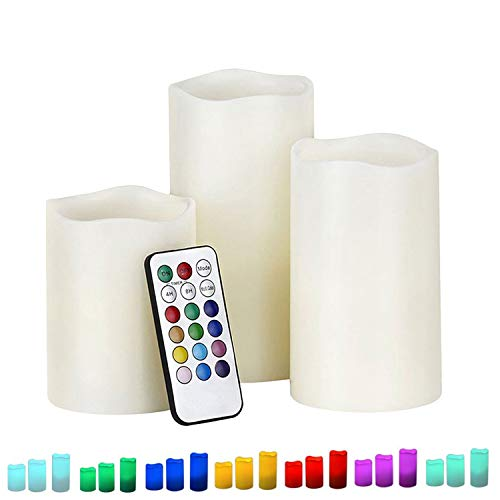 LED Kerzen, 12 Farben Farbwechsel Elektrische Flammenlose Kerzen Flackerkerzen mit Timer & Fernbedienung Batteriebetriebene 3er Set