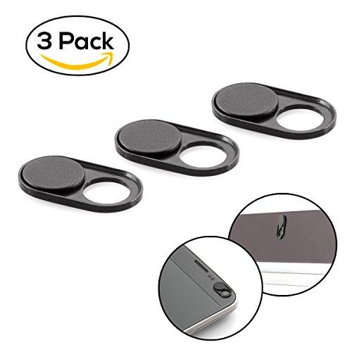 Inkognito Webcam Abdeckung aus Metall (3er Set) - Ultra dünne Schwarze Webcam-Cover zum Daten-Schutz für Laptop, i-mac, iPhone, MacBook, Handys, Smartphones