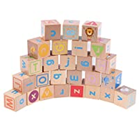 Deluxe 26pcs Wooden ABC Blocks, Baby Alphabet Letters, Counting & Building Block Set, Montessori Materials Math Toy