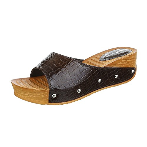 Pantoletten Damen Schuhe Jazz & Modern Keilabsatz/ Wedge Keilabsatz Ital-Design Sandalen / Sandaletten Braun
