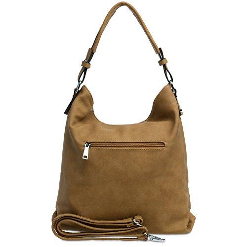 CASPAR TS1019 Damen Handtasche / Schultertasche mit Schnallen Dekor Braun