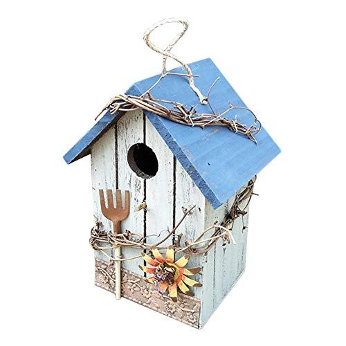 Zay Rustikale Garten Holzhaus handbemalte Vogelnest Garten Pflanzenzubehör Holz Vogelhaus dekorative Ornamente Vogel Nistkasten