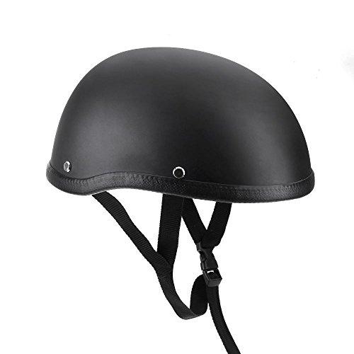 Ocamo Unisex Profi Motorrad Halbhelm Mütze Cap für Harley Chopper Bobber matte black