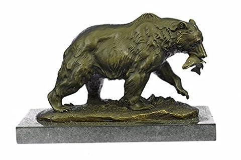 Handgemachte Bronze Skulptur Bronze Statue Grizzlybär Jagd Fish River Art Figurine Marmor Basis Figure-Ukal-317- Decor Sammler Geschenk