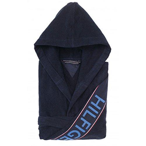 Accappatoio kimono con cappuccio tommy hilfiger tg s m l xl xxl 100% spugna puro cotone uomo donna (blu navy, xl - 52/54)