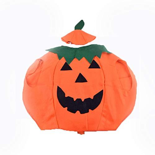 Newin Star 1 Stück Halloween Orange Kinder Kürbis Kostüm mit Kapuze Cosplay Partei Kleidung