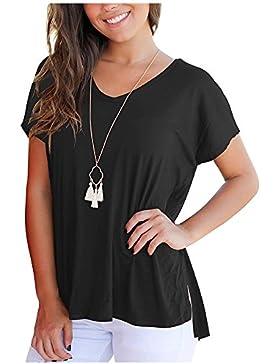Imixcity Blusa con Cuello en V Tops Sueltos de Verano Tops Sueltos de Verano para Mujer Camiseta Básica