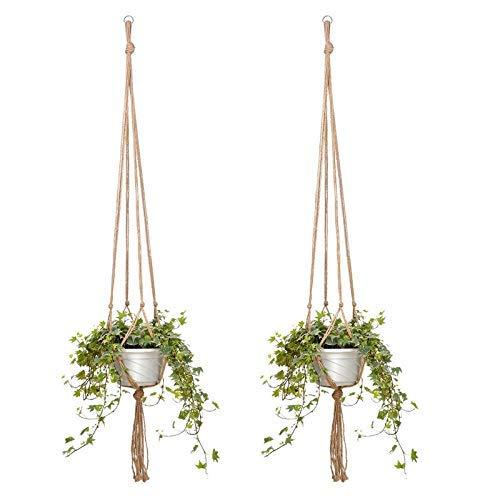 Honsin 4 Pcs Plant Hanger Jute Pot Holder Indoor Hemp Rope Hanging Planter Crafts Square Pot Holder