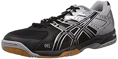 ASICS Men's Gel-Rocket 6 Black and Silver Mesh Indoor Multisport Court Shoes - 8 UK