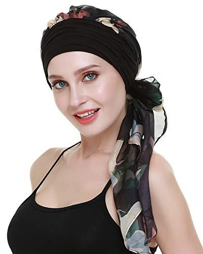 FocusCare Krebs - hüte haarausfall Frauen Chemo turbane schals Bambus Viskose Kopfbedeckung (Wie Zu Binden Schals)