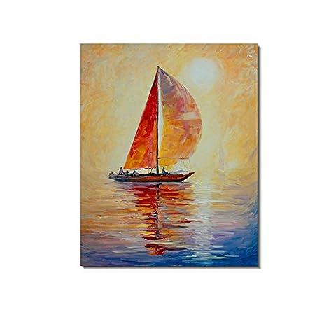 Redland Art Peintures à l'huile sur toile bateau à voile Chasse le soleil Mer Vue AOuvrages d'art Encadré étiré prêt à s'accrocher pour décoration murale à la maison
