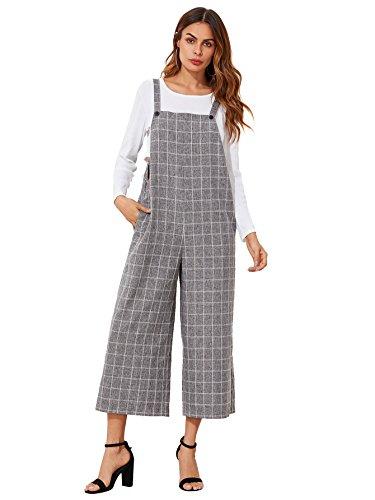 Verdusa Damen Ärmel Straps Taschen Plaid Culotte Overall Overalls Mittel 0-grau - Plaid Strap