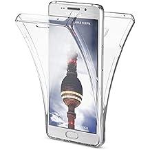 Samsung Galaxy A3 2016 Coque Protection Tout Round 360 Degrés de NICA, Housse Silicone Portable Full-Cover, Transparente Case Écran Integrale, Ultra-Fine Souple Gel Slim Bumper Etui - Transparent