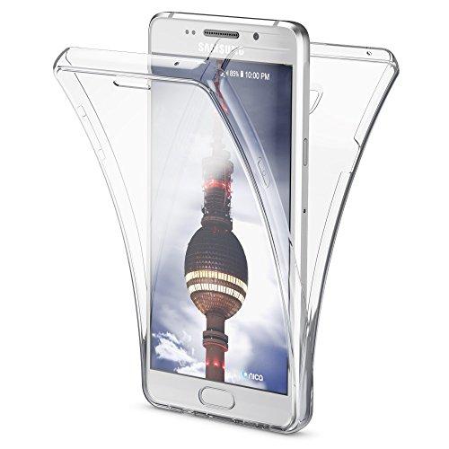 Samsung Galaxy A3 2016 Hülle 360 Grad Handyhülle von NICA, Full Cover vorne & hinten Rundum Doppel-Schutz, Dünnes Ganzkörper Case Silikon Etui, Transparenter Displayschutz & Rückseite - Transparent