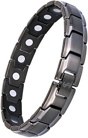 Smarter LifeStyle Elegantes Magnetisches Therapie-Armband Aus Titan Schmerzlinderung Für Arthritis Und Karpaltunnelsyndrom Für Herren Und Frauen Mattgrau