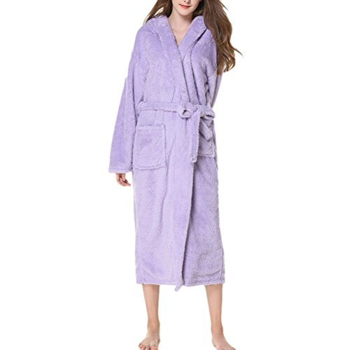 Zhhlinyuan Super Soft Cosy Unisex Kimono Bath Robe Morgenmäntel Coral Fleece Bademäntel Hooded Shawl Collar Plush Housecoat Lounge Style für Herren und Damen (Fleece Robe Belted)