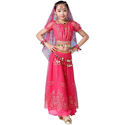 Wgwioo Kinder Bauchtanz Kostüme Phantasie Party Cosplay Kostüme Halloween (Bollywood Fancy Dress Outfits)