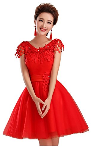 Drasawee - Robe - Trapèze - Femme Rouge - Rot - Rot