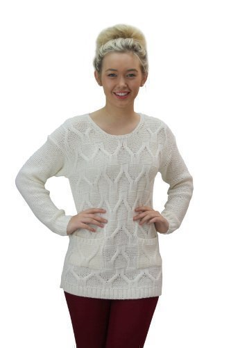 Womens Chunky Cable Knitted 2 Pocket Jumper Sweater (S/M (8-10), CREAM)