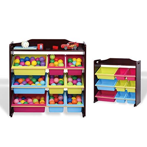 Kinder Spielzeug Spielzimmer Rack-Display-Speichereinheit Stable Freistehendes Organisator Regal Einfach Wohnzimmer Schlafzimmer Kinderzimmer Möbel Babyartikel Zusammenbauen (Color : Black) -