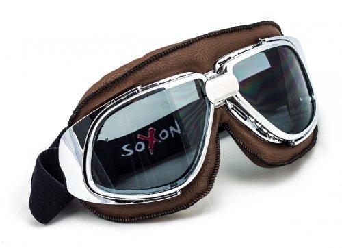 SOXON SG-301 Aviator Vintage Vespa Scooter Flieger-Brille Schutz-Brille Goggles Biker Jet-Brille Oldtimer Sport-Brille Cruiser Motorrad-Brille Pilot Ski-Brille, Leder Design, Braun/Schwarz, Einheitsgröße