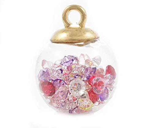 Blasen Globe Anhänger (2 Stück Glas Globe Ball Kugel Ampullen, Halskette Anhänger Mit Strass-Steinen Und Goldenen Kappe 16m x 21mm Loch 2,5 mm)