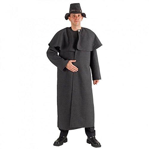 Hirten Kostüm Für Erwachsenen - Kostüm Schäfer Deluxe Mantel mit Hut grau Fasching Hirte Nachtwächter (L)