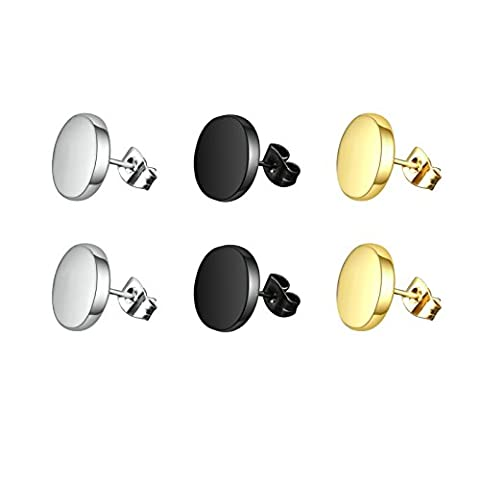 Aooaz 3 Pairs Stainless Steel Mini Stud Earrings Black Earrings For Men Women Gold Silver Rose Gold