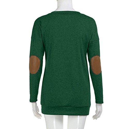 Sensail Femme Manches Longues Bloc de Couleur Patchwork Blouse T Shirt Tunique Tops Hauts Chic Automne Hiver Vert