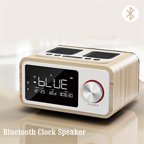 FENGCLOCK Fernbedienung Bluetooth-Lautsprecher Fm Radio Wecker, Freisprecheinrichtung Smart Snooze, Doppelte Lautsprecher Wecker Digital Funkuhr,Yellow