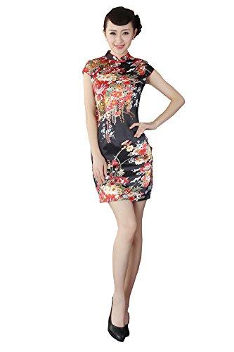 JTC Women's Flower Printed Cap Sleeve Chinese Mini Dress Cheongsam Qipao (UK14, Black & Red Flower)