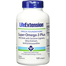 Life Extension Super Omega-3 Epa/Dha w Sesame Lignans Olive Extract Krill/Astaxanthin Softgel, 120 Count