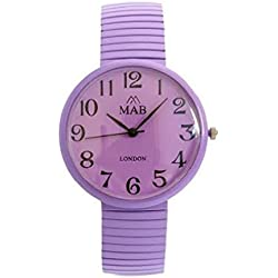 Unisex Purple Coloured Expandable MAB Designer Fashion Metal Watch Round Expander Bracelet Extra Battery