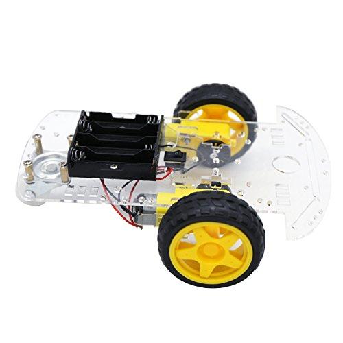 The perseids Intelligente Roboter Auto Fahrgestelle Kits Motor Smart Auto Car Chassis Batterie Box Set Drehzahlgeber fuer Arduino DIY Automatische Verfolgung Modell mit Geschwindigkeit Kodierer 1: 48 (2 WD)