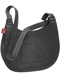 d153aaa3693e4 Große Damen Tasche Handtasche Umhängetasche Filz Grau Aufdruck Motiven NESI