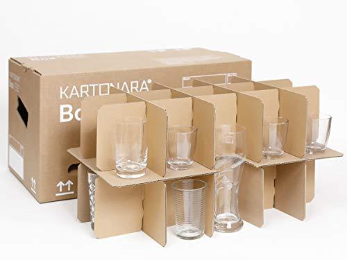 5 Gläserkartons KARTONARA Box | Umzugskarton mit 15-30 Fächer | Flaschenkarton