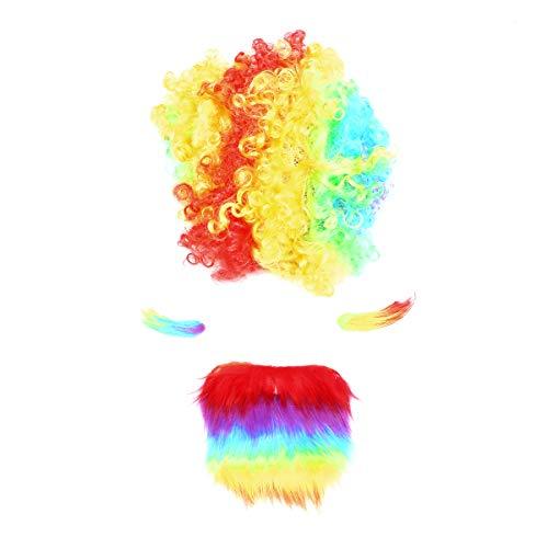 Amosfun Gesetztes Halloween-Kostümzubehör der Regenbogenclownperücke (Ronald Mcdonald Kostüm Halloween)