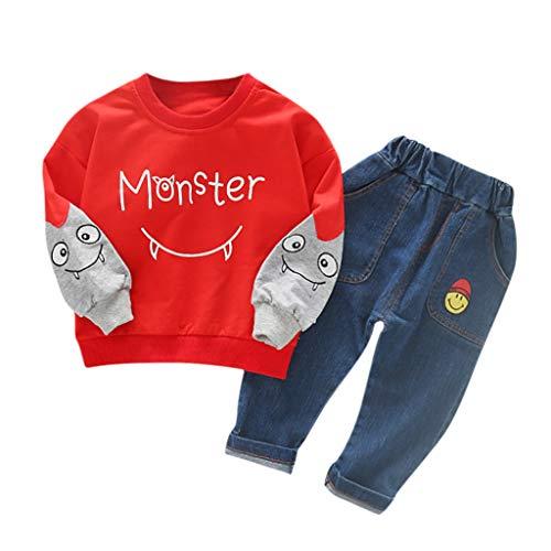 Julhold Kind Kinder Winter Jungen Mode Hübscher Cartoon Slip Langarm Baumwolle Tops Cowboy Hosen Outfits Set 1-5 Jahre