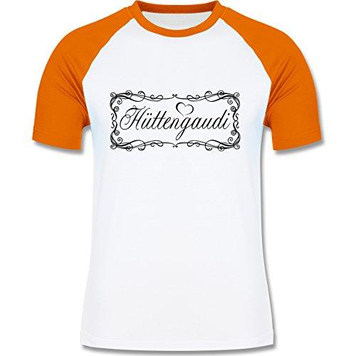Après Ski - Hüttengaudi Vintage verspielt - zweifarbiges Baseballshirt für Männer Weiß/Orange