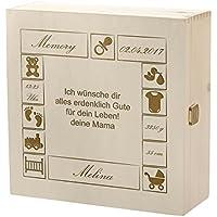 Preisvergleich für Kramkiste 25 x 25 cm als Geschenk zur Geburt oder Taufe - Holzbox mit Gravur - Motiv Baby Baukasten mit Wunschtext