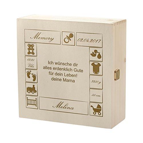 polar-effekt Aufbewahrungsbox mit Gravur - Große Holzkiste mit Deckel Natur 27x27cm – Personalisierte Geschenkidee zur Geburt oder Taufe - Allzweck-Kiste aus Holz - Motiv Baby mit Wunschtext