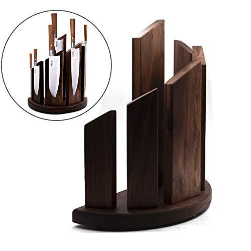 Magnetischer Messerblock aus Holz Messerhalter (Messer nicht enthalten) - 100{88557693cdae6e37186cf694ca53ff735af26516b9295c9a1717da079936d840} Walnussholz zur sicheren, sauberen und ordentlichen Aufbewahrung von Messern, kreatives Design,Brown