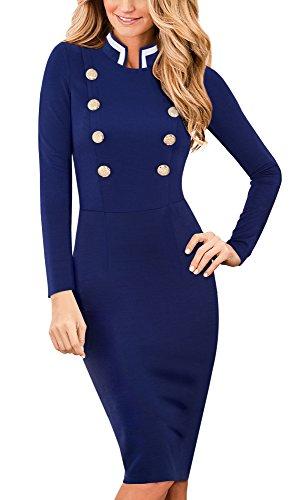 HOMEYEE Women's Elegant Vintage Stand Collar Long Sleeve Business Dress B410