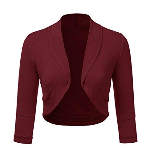 SEWORLD 2018 Damen Mode Sommer Herbst Beiläufige Schal Übergröße Solide Bolero Zucken Open Front Beschnitten Mini Büroarbeit Strickjacke(Weinrot,EU-40/CN-L)